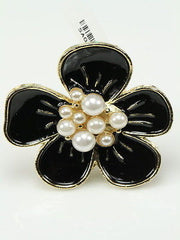 Pretty Black Pearl Gold Flower Adjustable Fashion Cocktail Ring