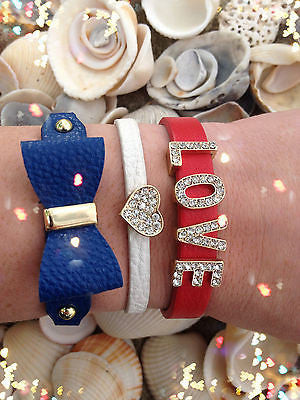 Bracelet Arm Candy Stack Rhinestone Red White Blue Love Heart Bow Leather Set