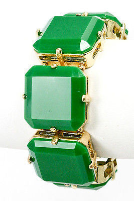 Bracelet Green Square Stretch Acrylic Linked Chunky Fashion New Gold Beaded