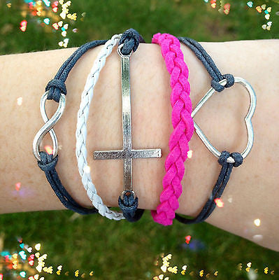 Bracelet Leather Wrap Heart Cross Infinity Steel Pink Braided Rope Koskin Set