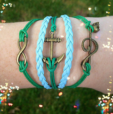 Bracelet Leather Wrap Infinity Anchor Music Note Skull Blue Green Brass Rope New