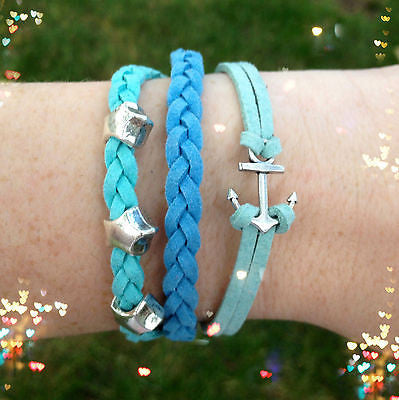 Bracelet Leather Wrap Anchor Nautical Star Silver Blue Braided Rope Koskin Set