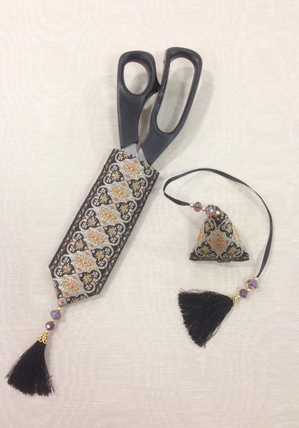 Andalusia - a sewing scissor scabbard and emery humbug