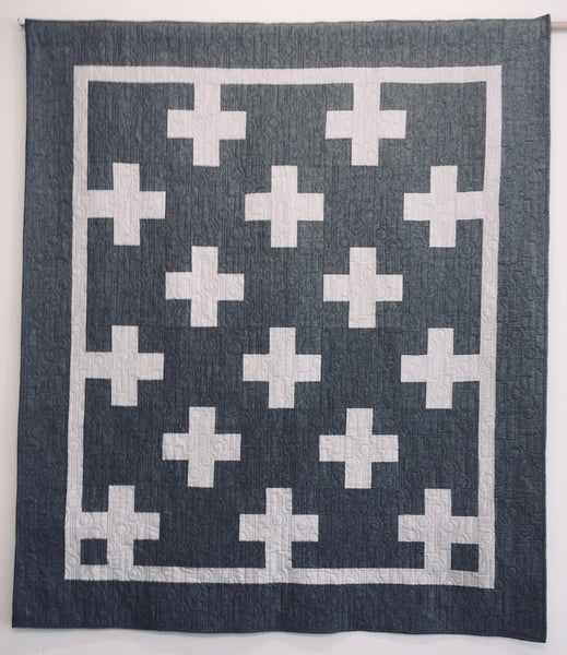 Neutral Crosses Linen Quilt