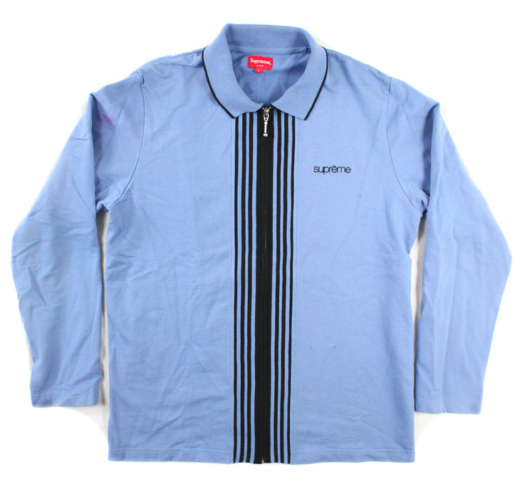 SUPREME - ZIP UP COLLARED SWEATER (PALE BLUE) [USED]
