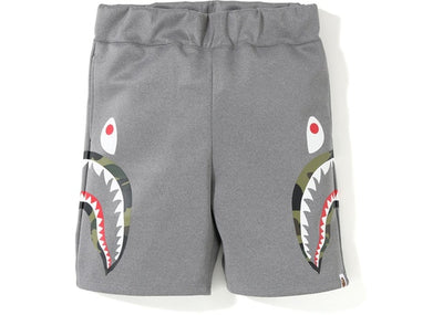 BAPE - DOUBLE KNIT SIDE SHARK SHORTS (GREY/GRN CAMO)