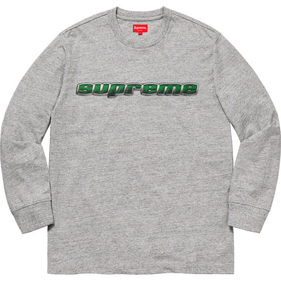 SUPREME - CHROME LOGO L/S TOP (HEATHER GREY)