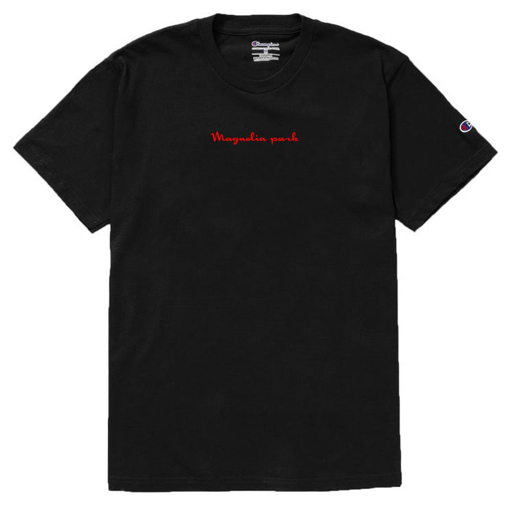 MAGNOLIA PARK - MAG CHAMPION SCRIP TEE (BLK/RED)