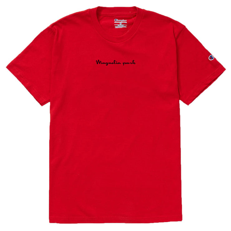 MAGNOLIA PARK - MAG CHAMPION SCRIP TEE (RED/BLK)