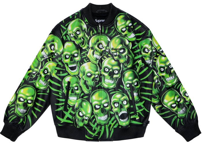 SUPREME - SKULL PILE LEATHER BOMBER JACKET (GREEN)