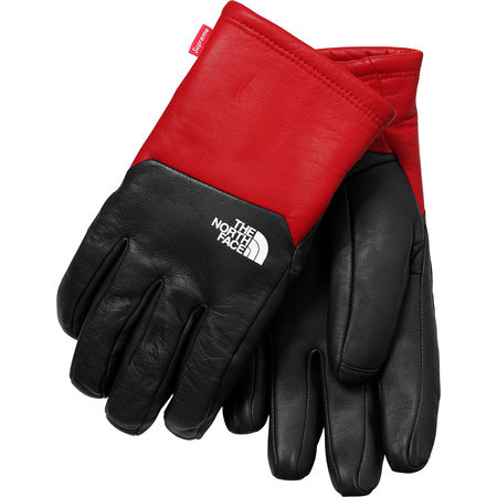 Supreme The North Face Leather Gloves Red