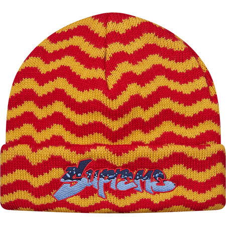 SUPREME - ZIG ZAG STRIPE BEANIE (RED)