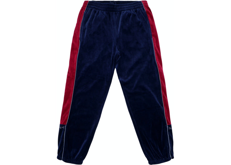 SUPREME - SPLIT VELOUR TRACK SWEATPANTS ( NAVY )