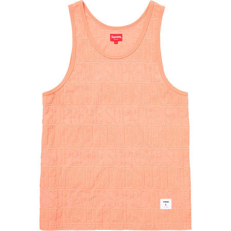 SUPREME - LOGO STRIPE TERRY TANK TOP (PEACH)