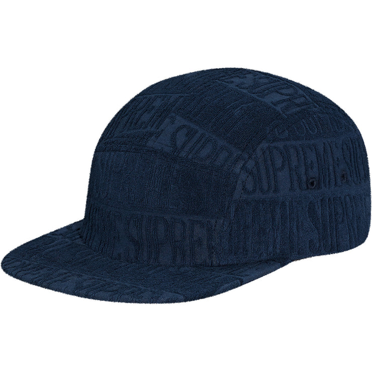 SUPREME - TEXT STRIPE TERRY CAMP CAP NAVY [USED]