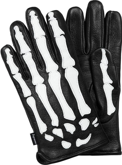 SUPREME/VANSON - LEATHER X RAY GLOVES (BLACK)