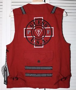 GUESS JEANS/PLACES + FACES - UTILITY TECHNICAL VEST (RED)