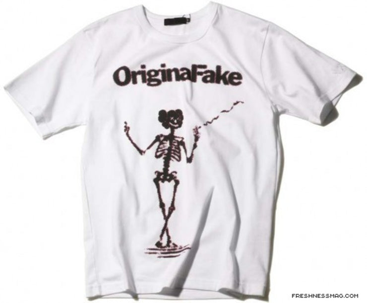 ORIGINAL FAKE - SMOKING OF SKELETON TEE (WHITE)