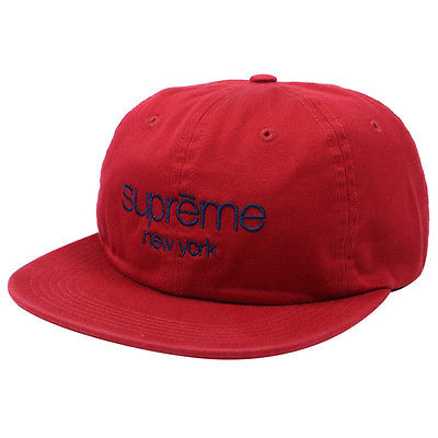 SUPREME - CLASSIC LOGO 6 PANEL HAT (RED)