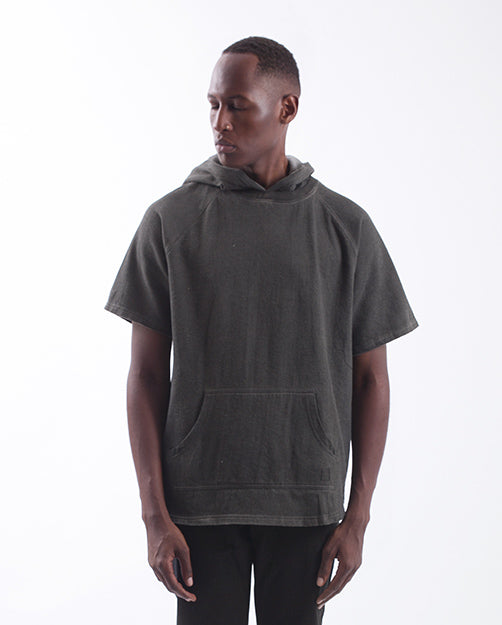 AKOMPLICE - WEST OVERDYED S/S HOODIE (CHARCOAL)