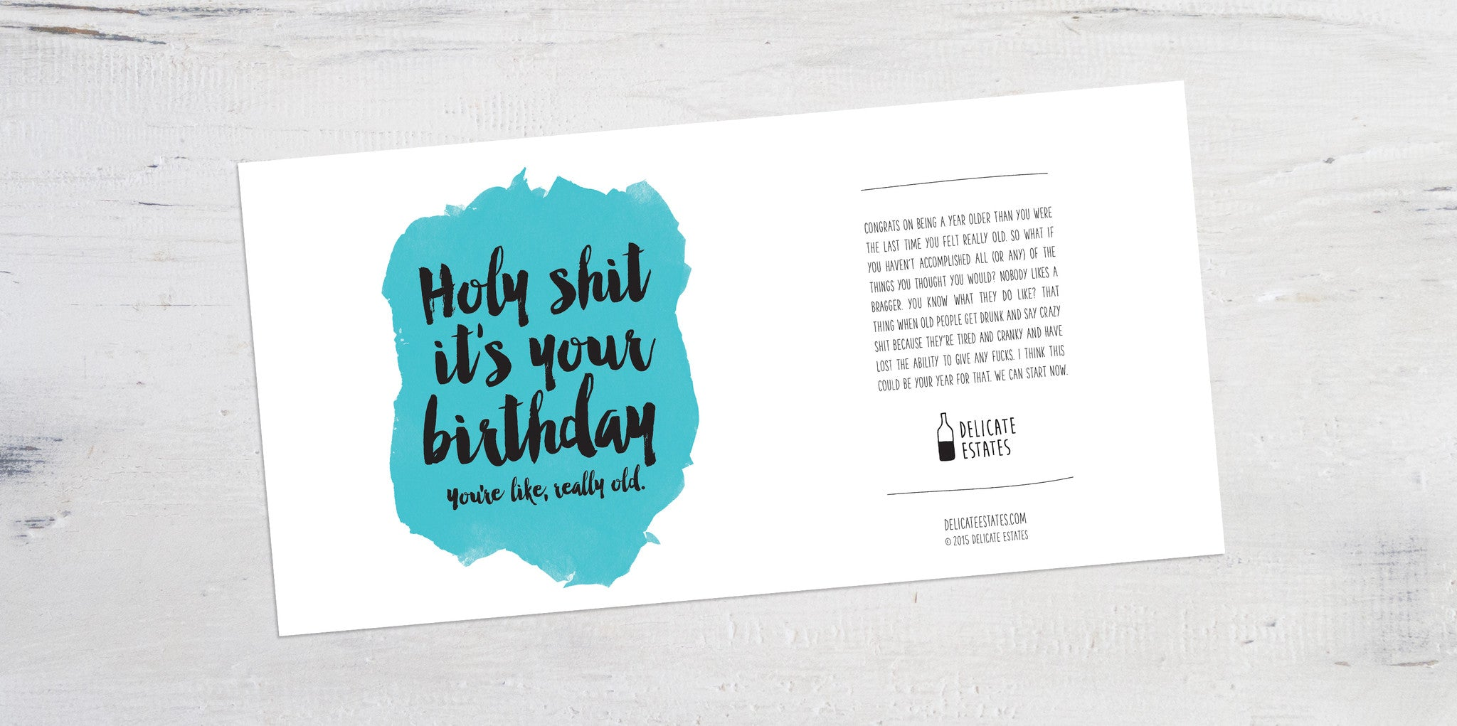 birthday wine label greeting card delicate estates novelty sarcastic funny
