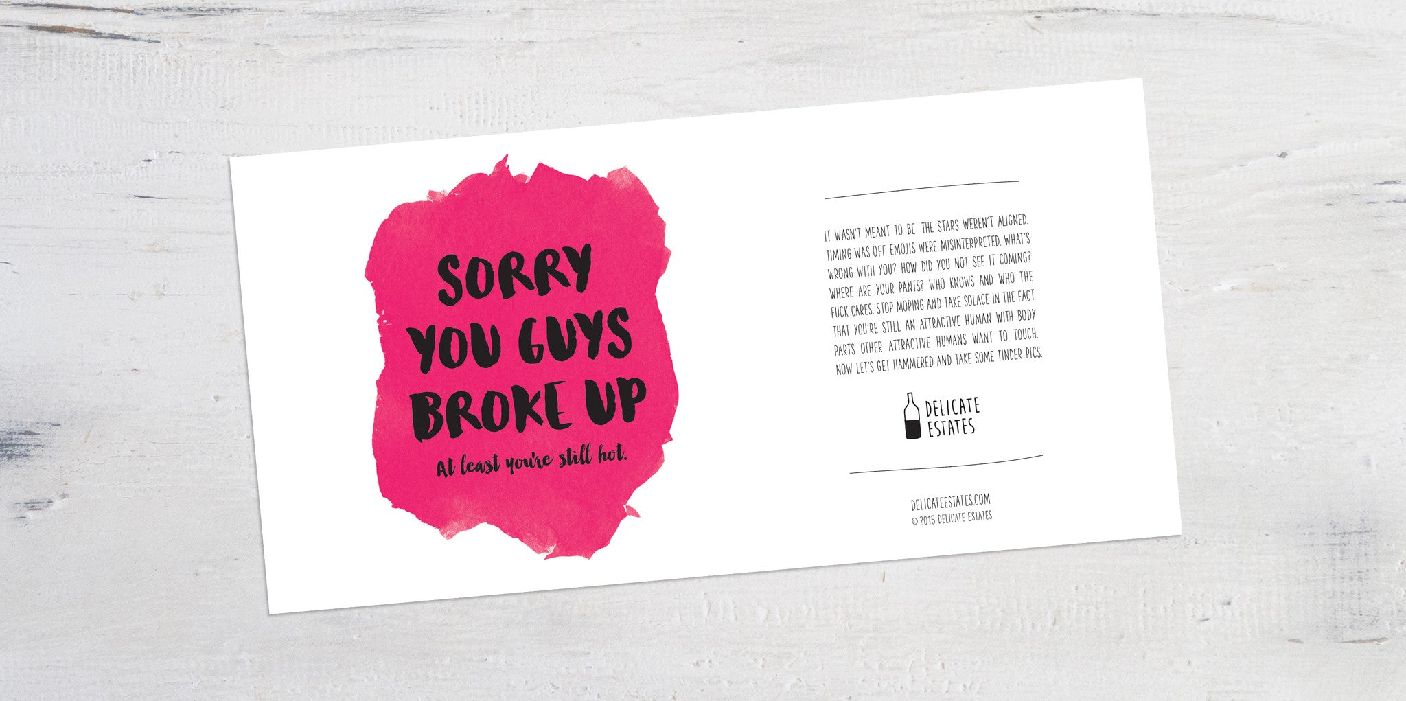 you got dumped wine label greeting card delicate estates tinder