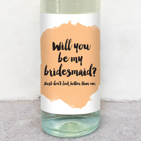 will you be my bridesmaid wine label greeting card delicate estates