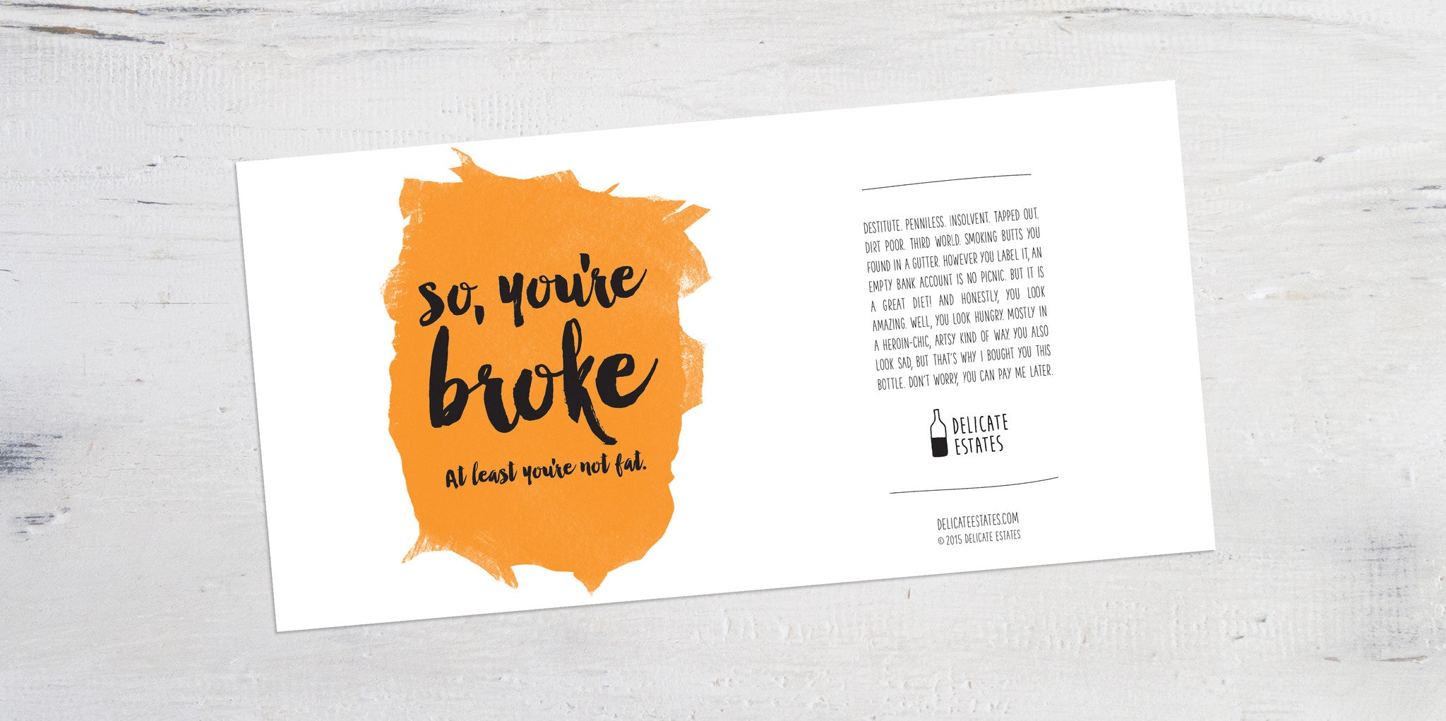 broke wine label greeting card delicate estates booze cheer up party