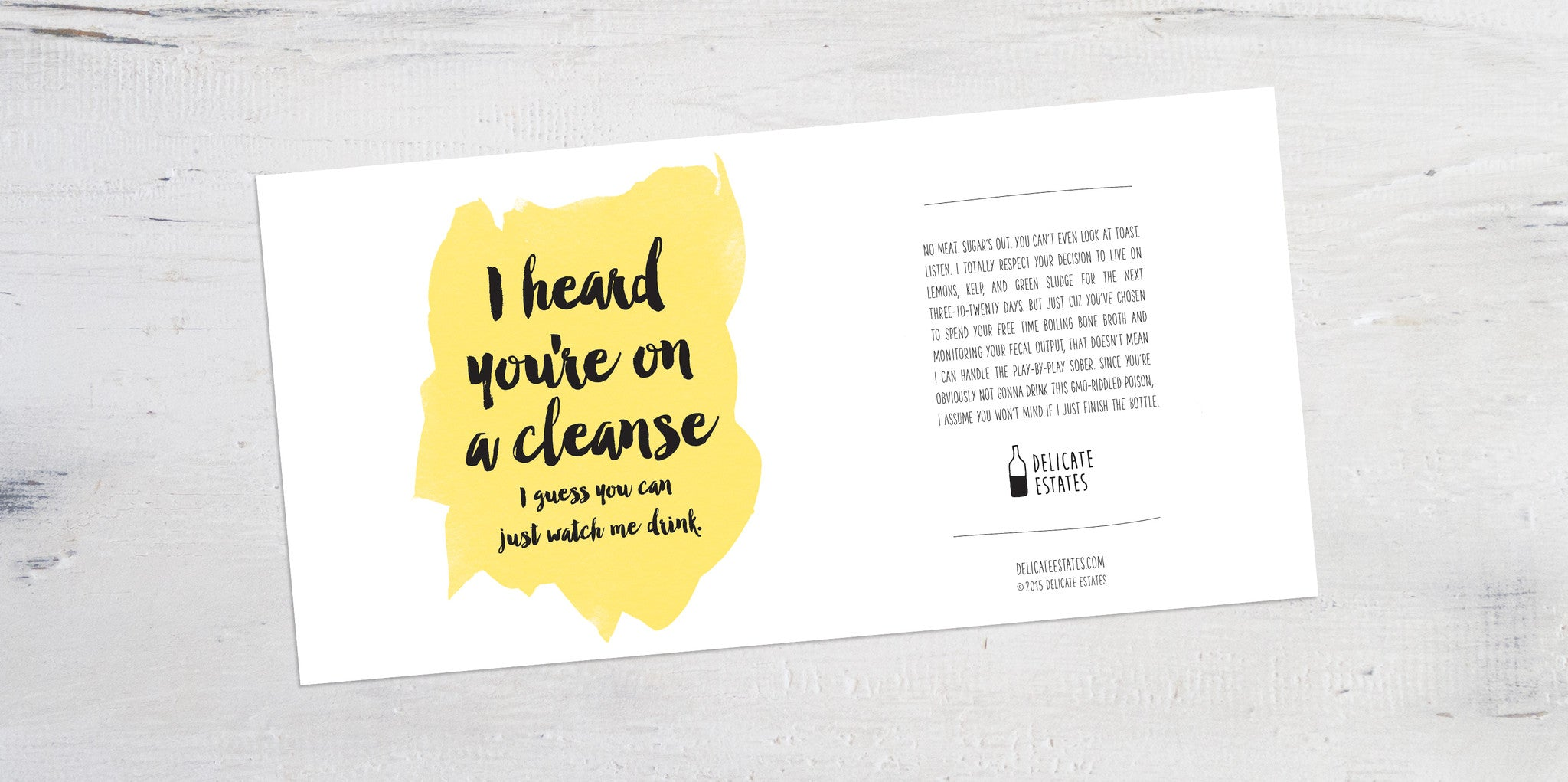 cleanse wine label greeting card delicate estates juicing toxins antioxidants nutrition hippies Los Angeles