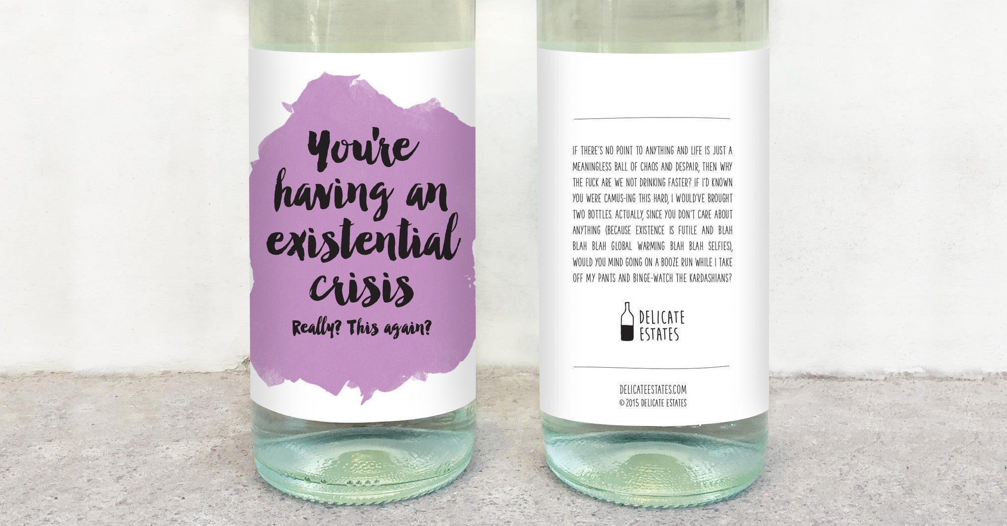 existential crisis wine label greeting card delicate estates really this again albert camus