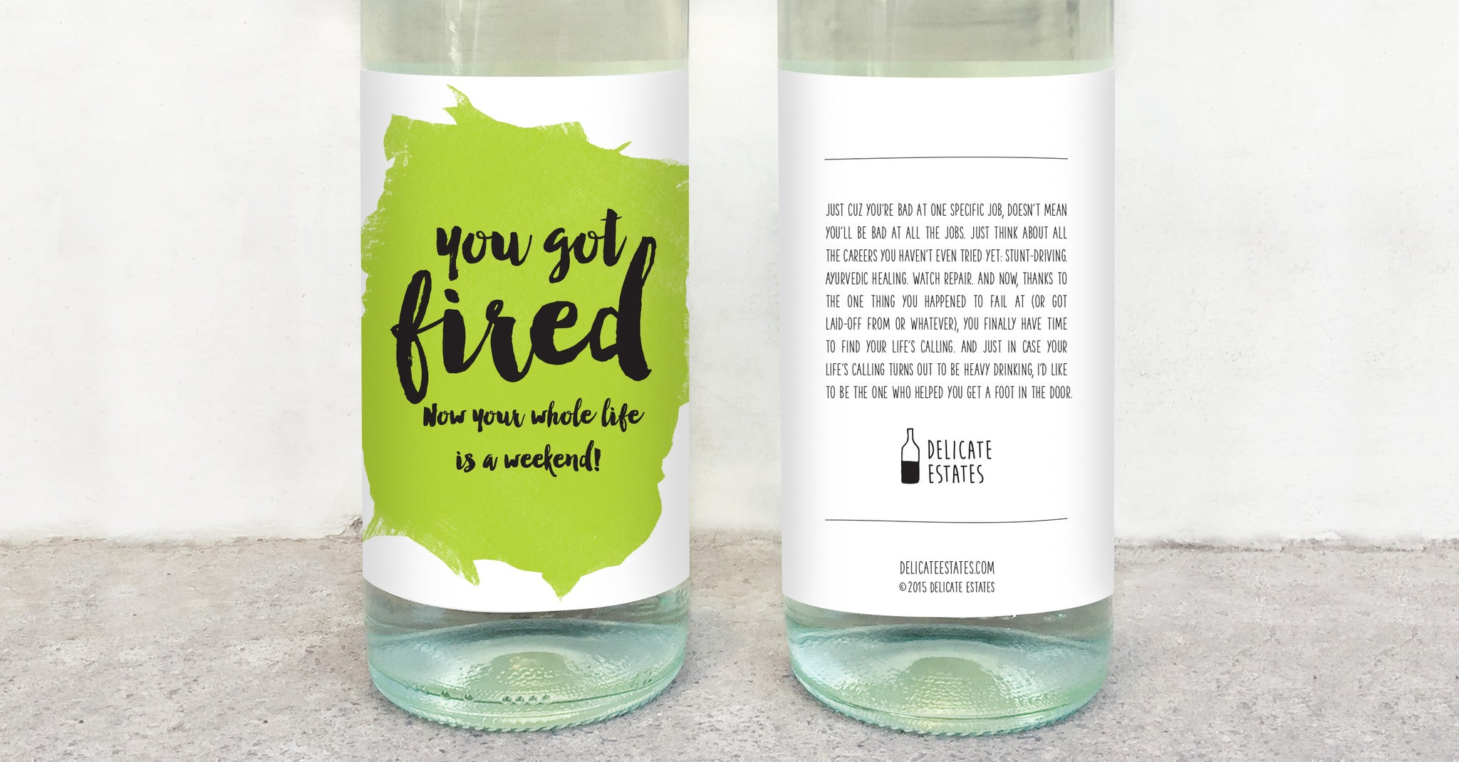 lost job quit laid off wine label greeting card delicate estates