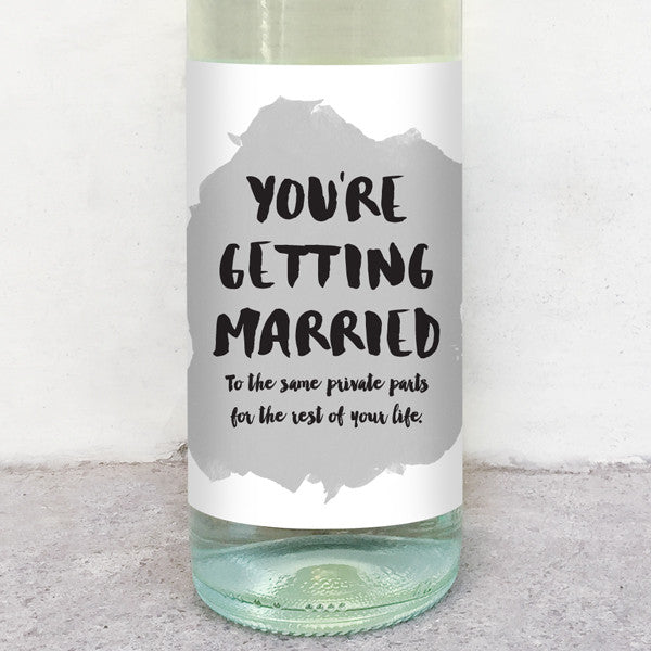 You're getting married wine label greeting card delicate estates