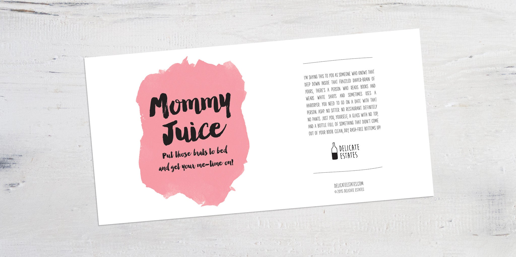 Mommy Juice wine label greeting card delicate estates breastfeeding funny sarcastic silly friend