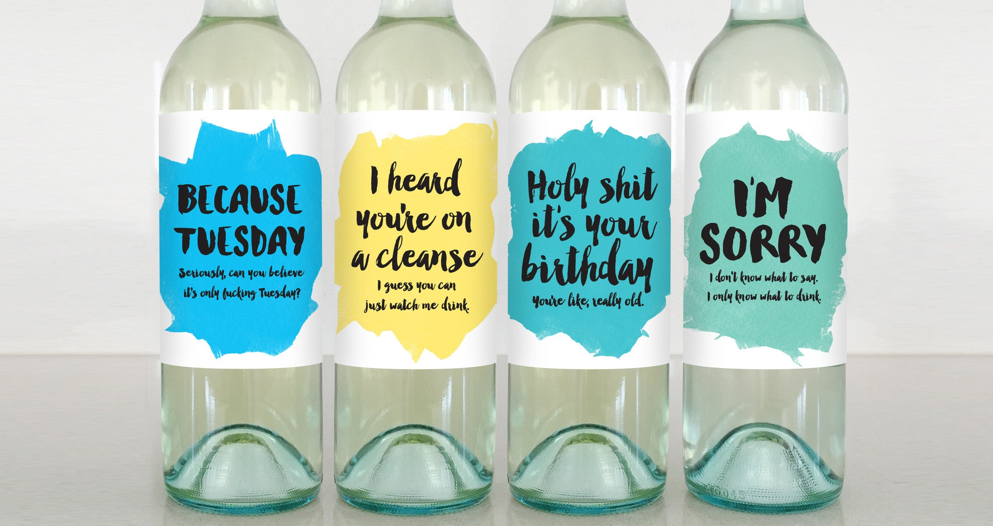 tuesday cleanse birthday sorry wine label greeting card delicate estates