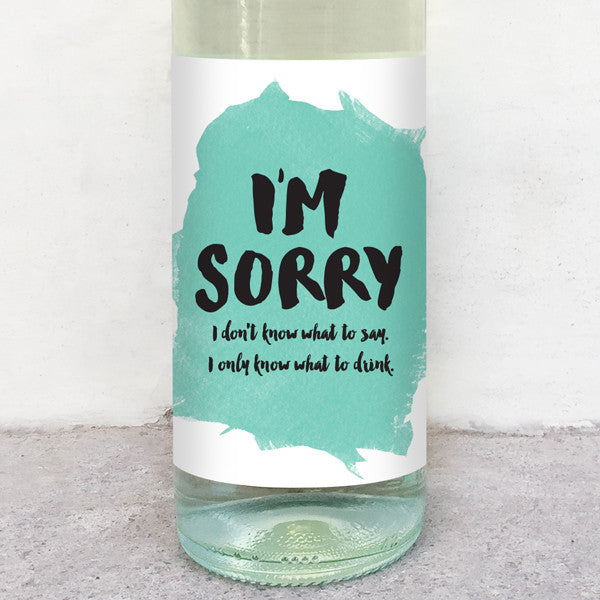 I'm sorry wine label greeting card delicate estates