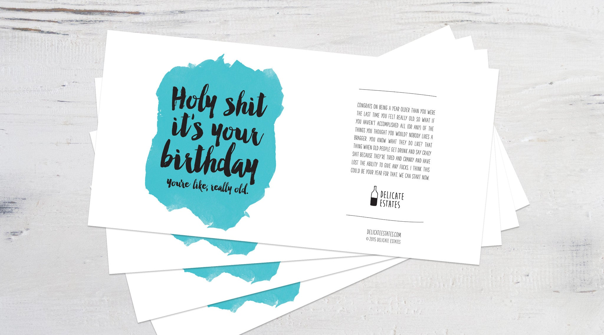 Holy shit it's your birthday wine label greeting card delicate estates 4 pack