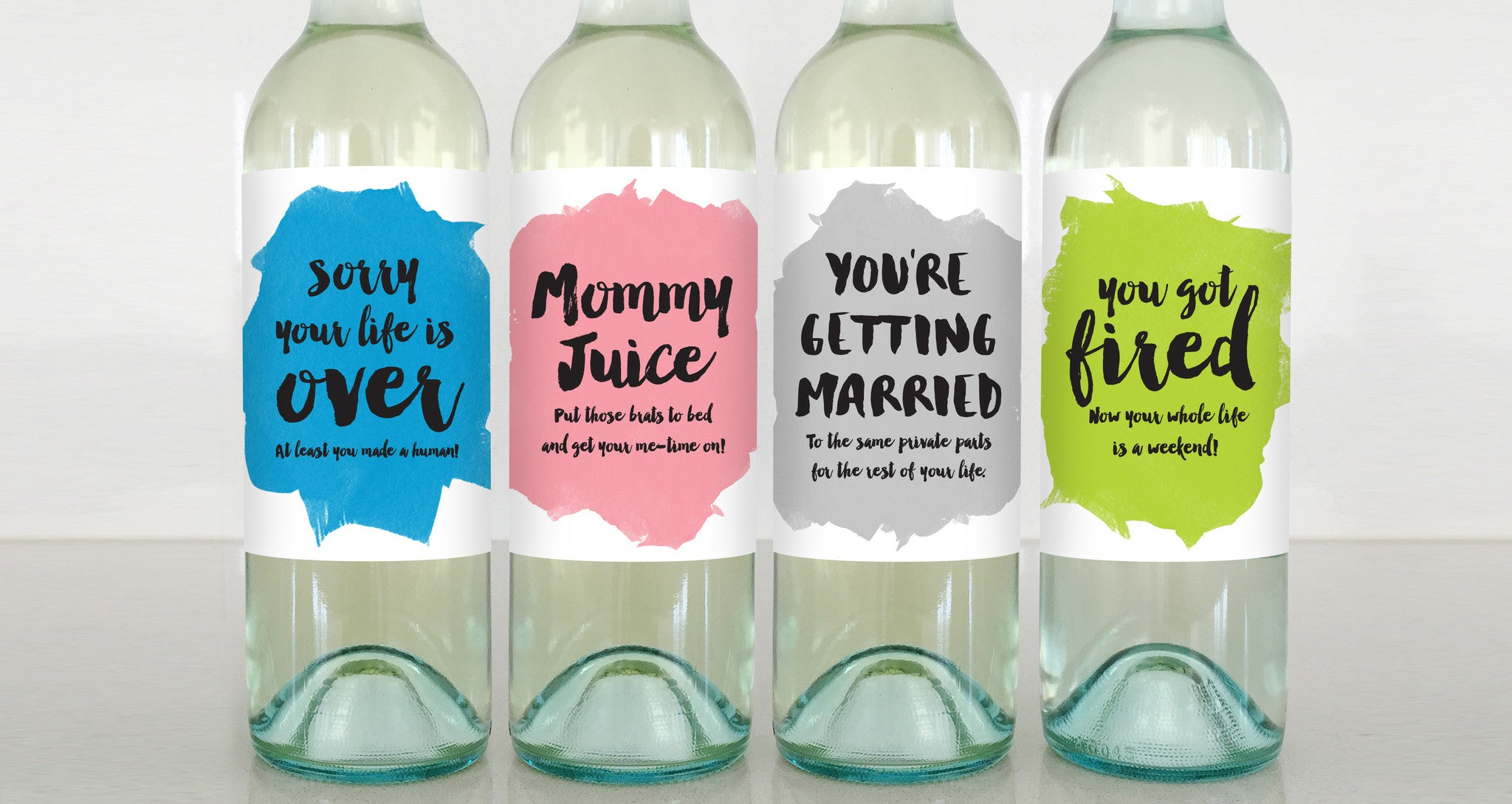 new parent mommy juice married you got fired wine label greeting card delicate estates