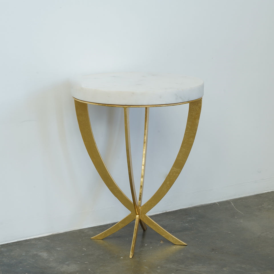 Anwyll Marble & Iron Side Table - 50 X 50 X 65cm /