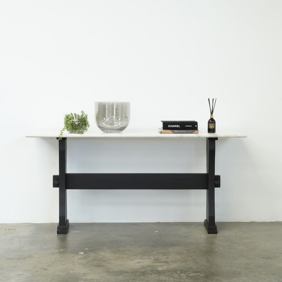 Aquilla Marble & Mango Wood Console Table - 178 X 50 X 76cm