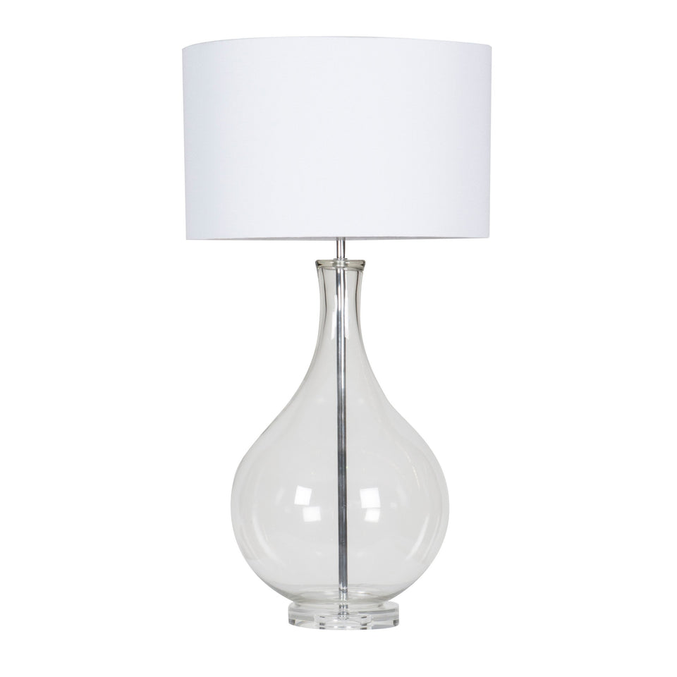 Aviana Glass Lamp - 84 cm h / Clear/White Shade - Table