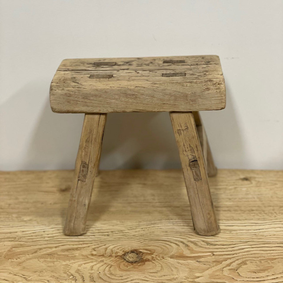 Balsa Recycled Elm Stool - 20 X 16 X 17cm / Natural - Decor