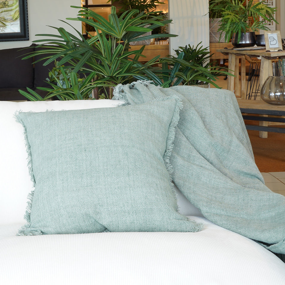 Bridget Linen Throw - 130 X 170cm / Seagrass - Throws