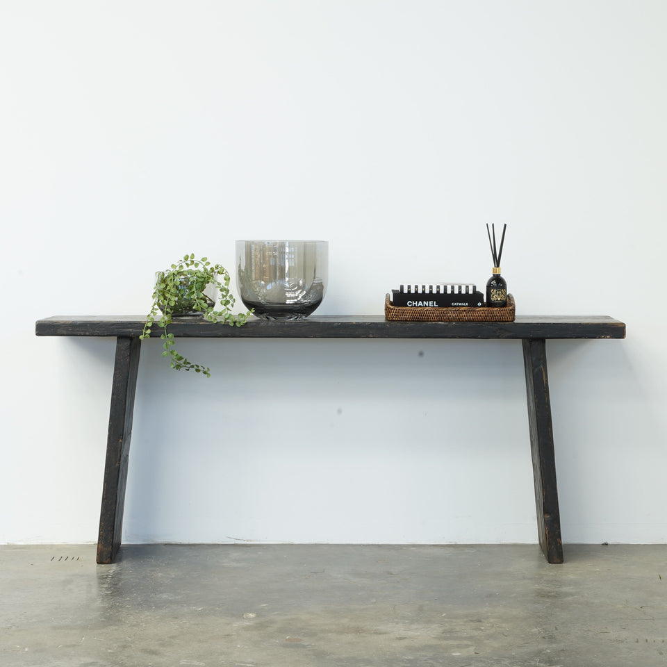 Cassia Recycled Pine Console Table - 183 X 38 X 76cm / Black