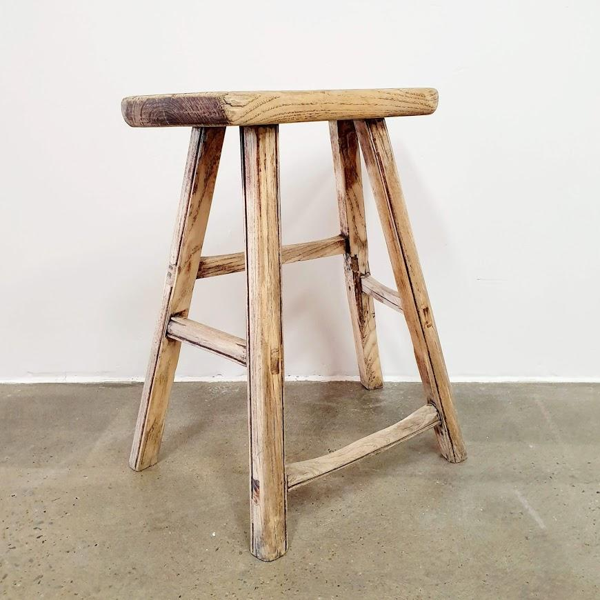 Flame Antique Elm Workers Stool