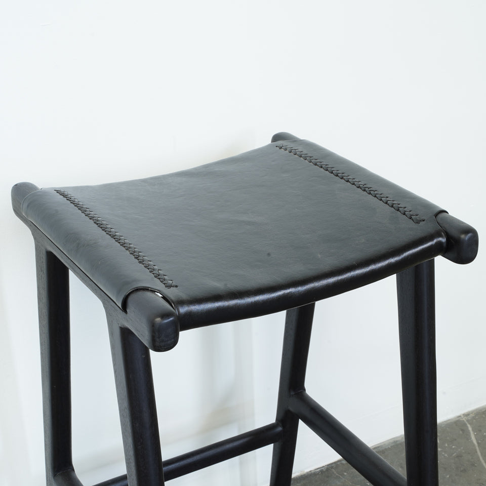 Gabello Leather Stool - 40 X 40 X 65cm / Black - Stools