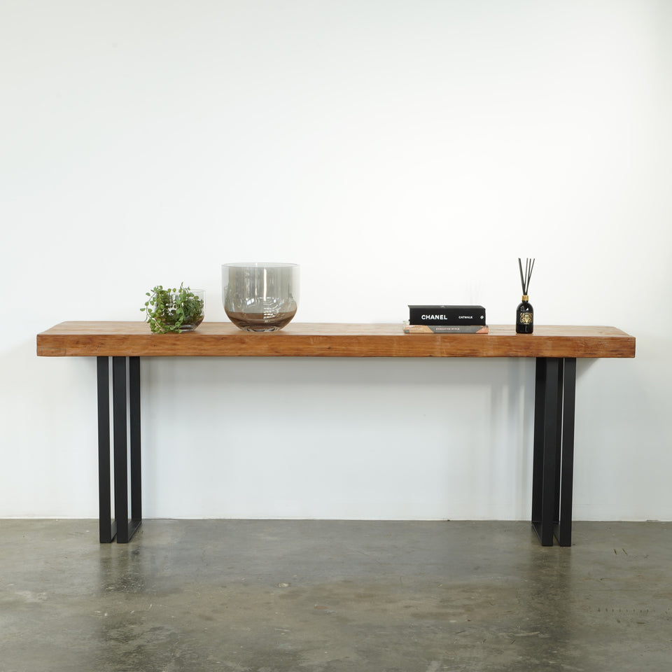 Hugo Teak Console - 220 X 55 X 80cm / Brown/Black - Consoles