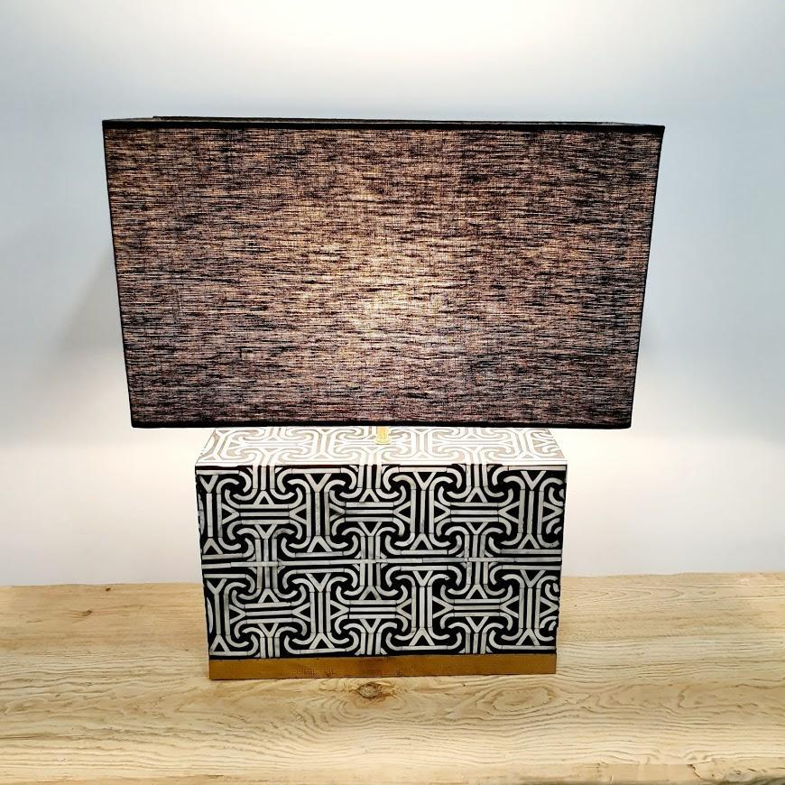 Labyrinth Bone Rectangle Lamp - Small / Black and White -