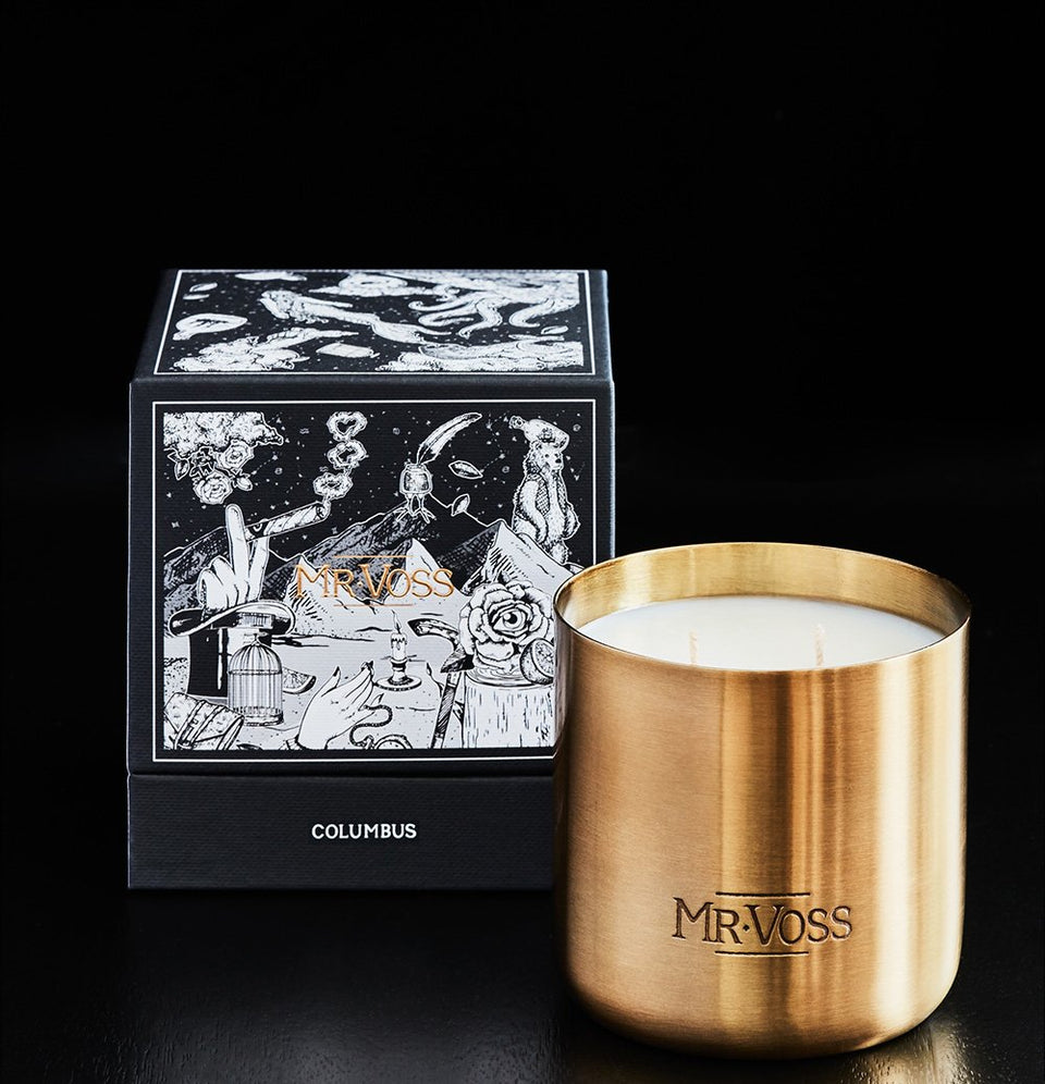 Mr Voss Columbus Candle - 11 X 10 X 10cm / Gold - Candles