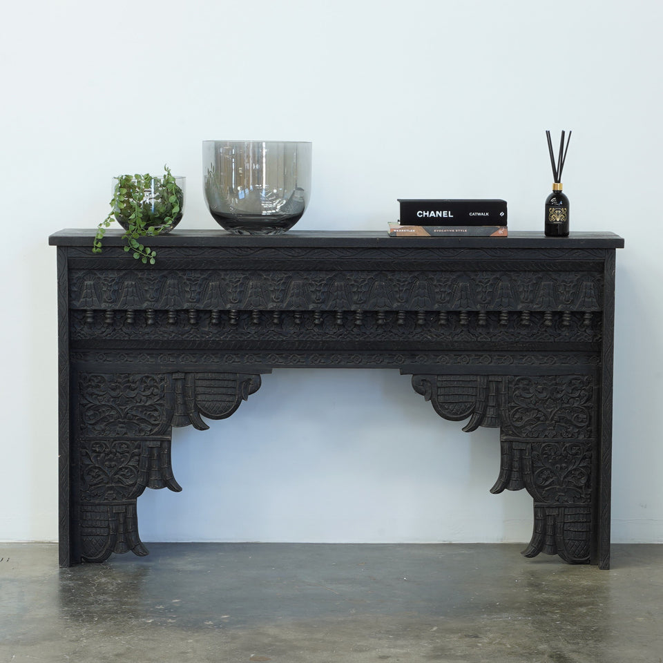 Nishith Carved Wood Console - 152 X 36 X 90cm / Black -