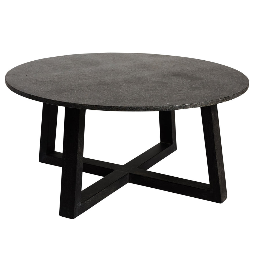 Romanus Granite Coffee Table - 110 X 110 X 43cm / Charcoal -